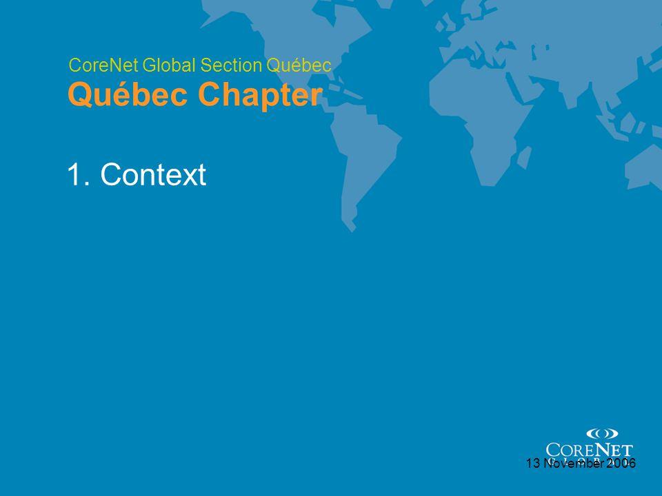 CoreNet Global Section Québec Québec Chapter 13 November 2006 1. Context