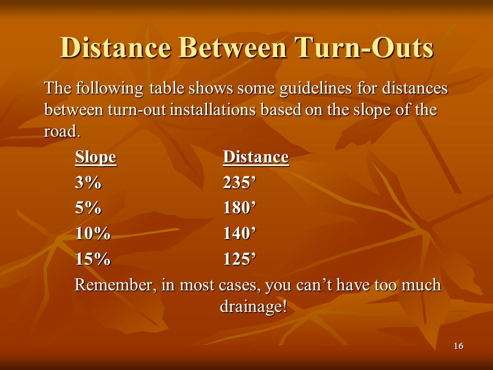 16 Distance Between Turn-Outs The following table shows some guidelines for distances between turn-out installations based on the slope of the road.