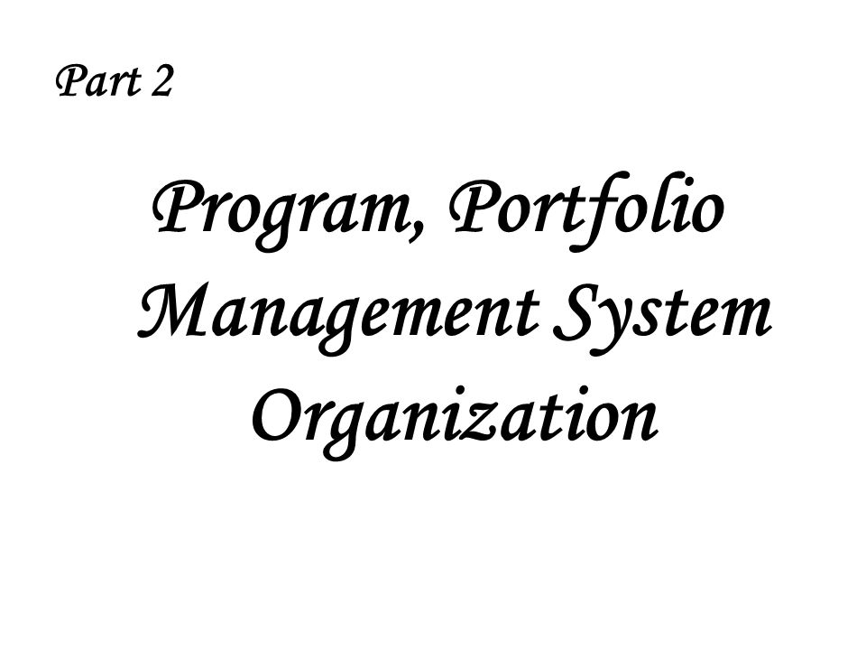 Part 2 Program, Portfolio Management System Organization