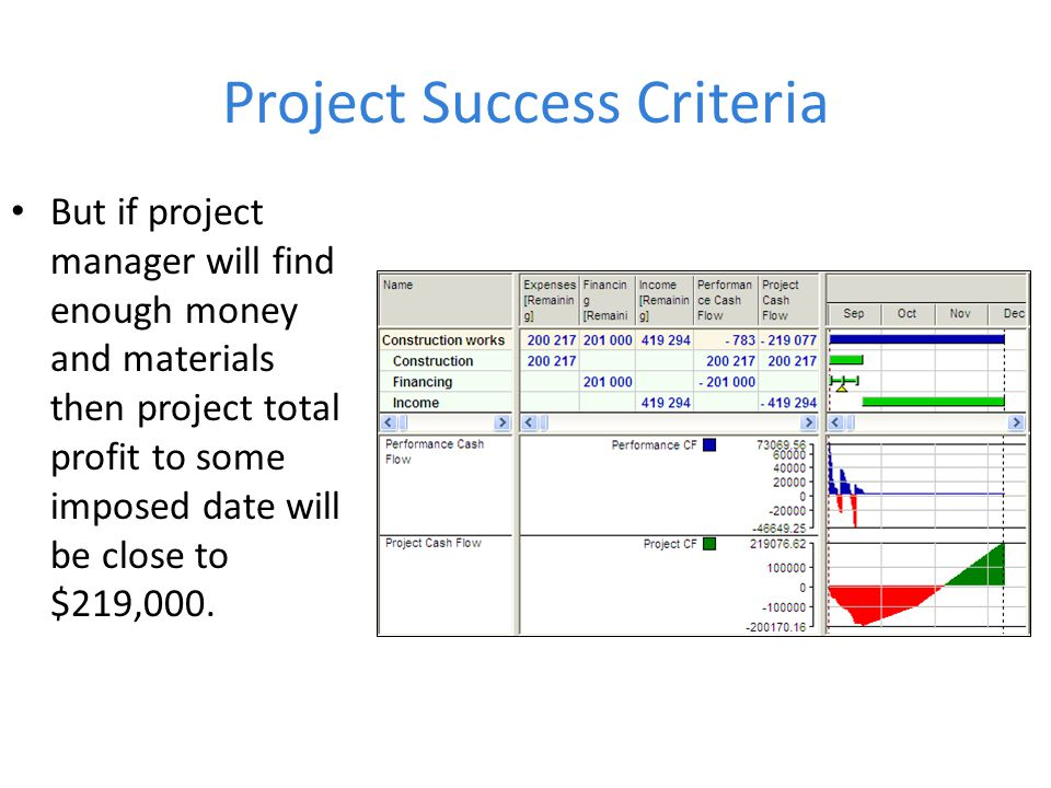 Project Success Criteria But if project manager will find enough money and materials then project total profit to some imposed date will be close to $219,000.