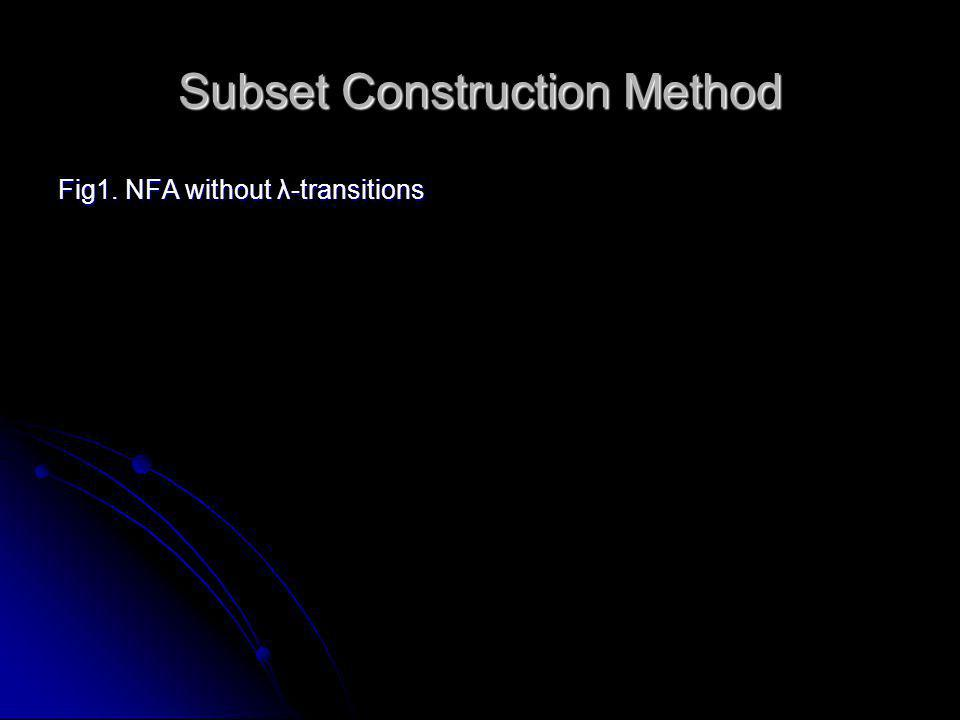 Subset Construction Method Fig1. NFA without λ-transitions 1 3 2 4 5 a a a a a b b b a,b