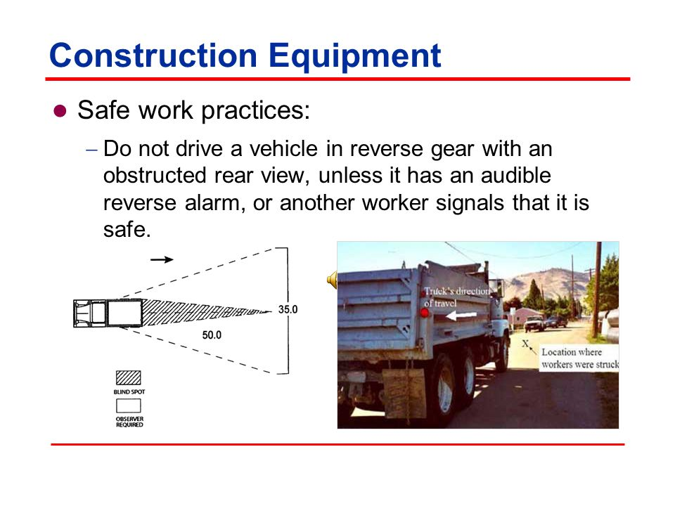 Construction Equipment Safe work practices: Vehicle(s) used to haul material and loaded by cranes, power shovels, loaders or other such equipment, must have a cab shield or canopy that protects the driver from falling materials.