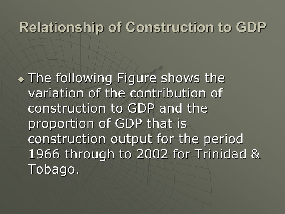 The following Figure shows the variation of the contribution of construction to GDP and the proportion of GDP that is construction output for the period 1966 through to 2002 for Trinidad & Tobago.