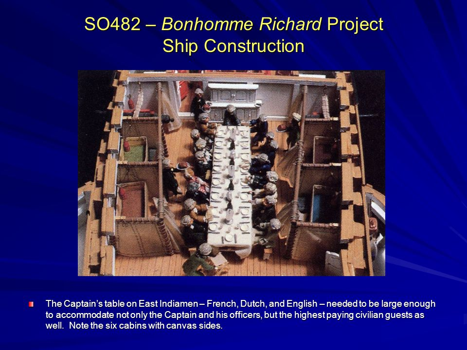 SO482 – Bonhomme Richard Project Ship Construction The Captains table on East Indiamen – French, Dutch, and English – needed to be large enough to accommodate not only the Captain and his officers, but the highest paying civilian guests as well.