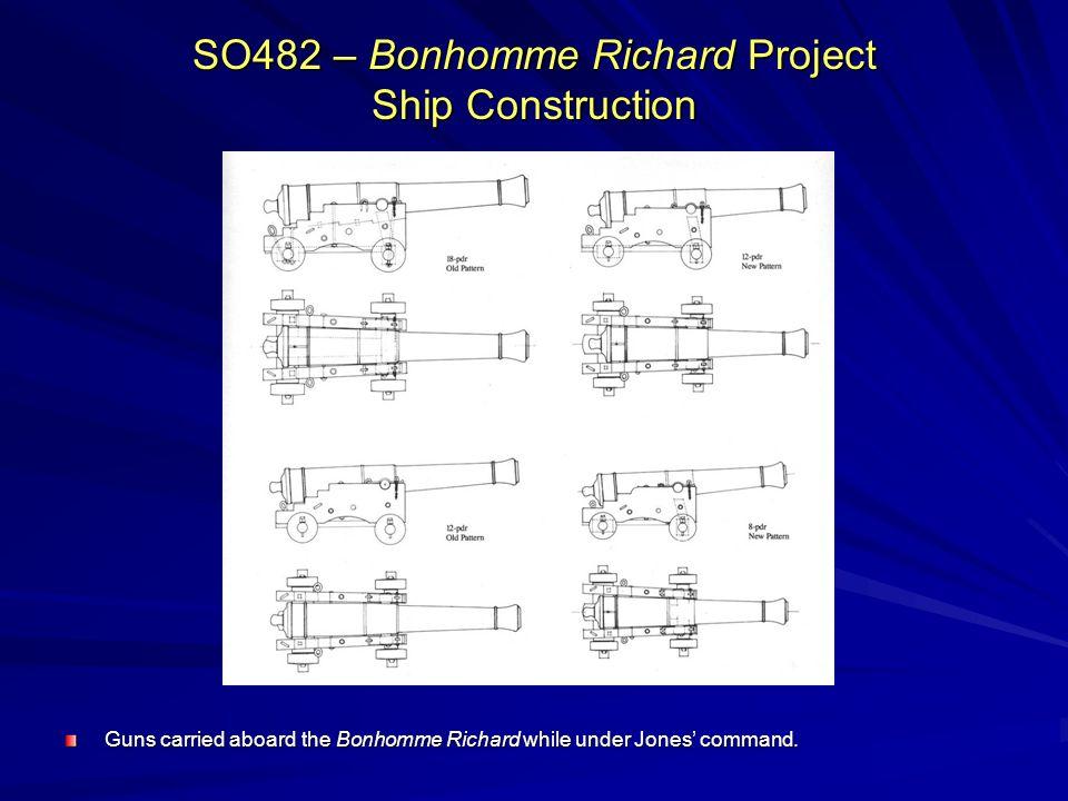 SO482 – Bonhomme Richard Project Ship Construction Guns carried aboard the Bonhomme Richard while under Jones command.
