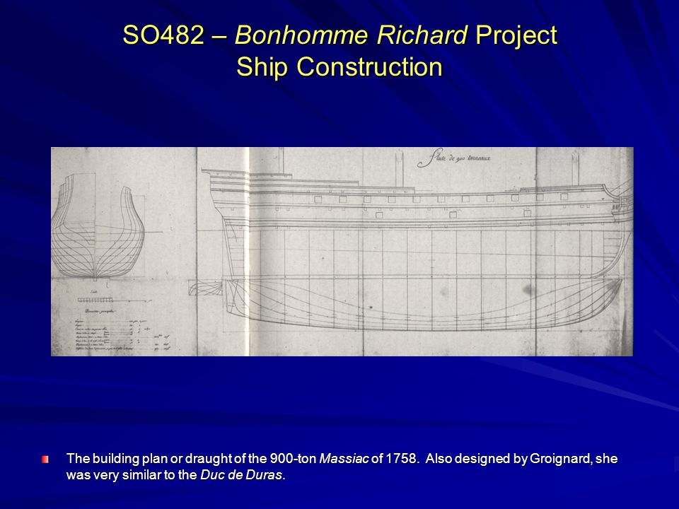 SO482 – Bonhomme Richard Project Ship Construction The building plan or draught of the 900-ton Massiac of 1758. Also designed by Groignard, she was ve