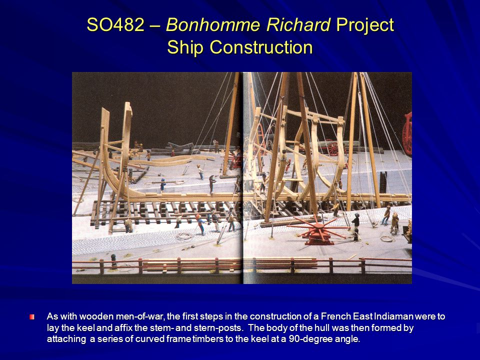 SO482 – Bonhomme Richard Project Ship Construction As with wooden men-of-war, the first steps in the construction of a French East Indiaman were to la