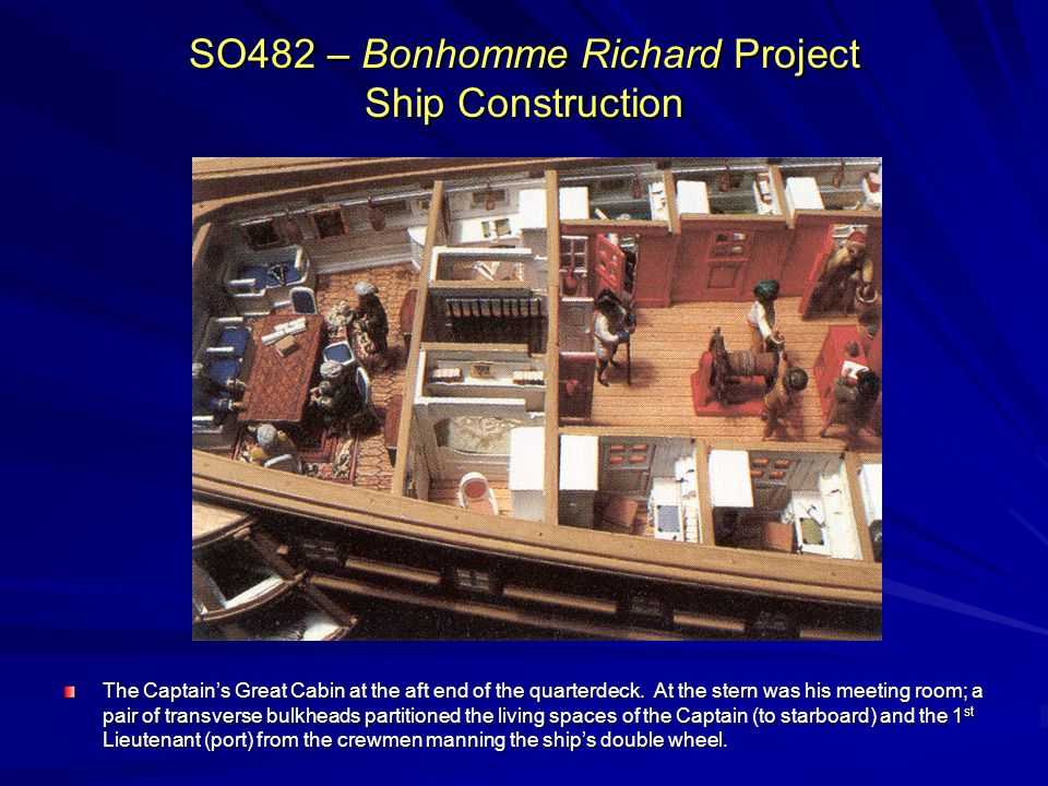 SO482 – Bonhomme Richard Project Ship Construction The Captains Great Cabin at the aft end of the quarterdeck. At the stern was his meeting room; a pa