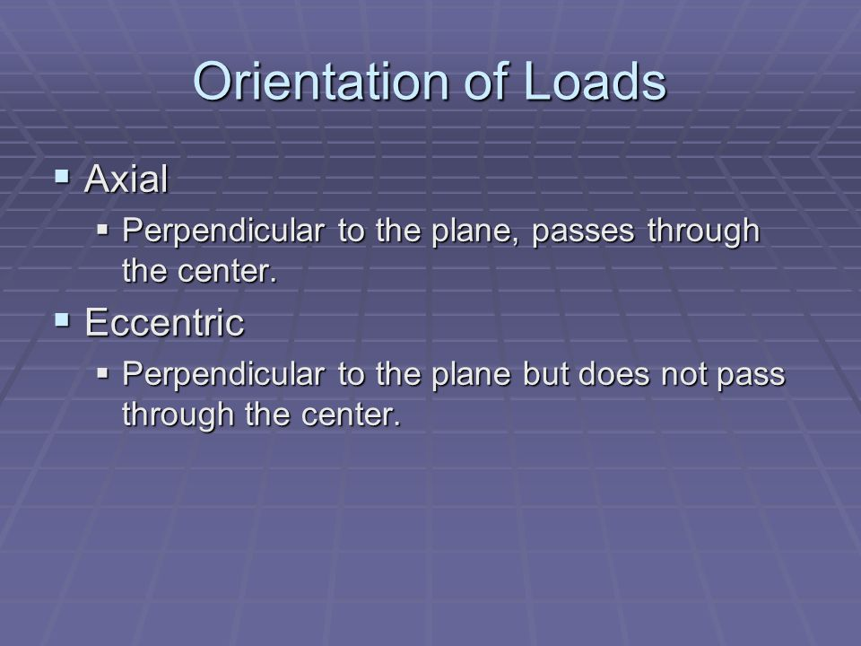 Orientation of Loads Axial Axial Perpendicular to the plane, passes through the center. Perpendicular to the plane, passes through the center. Eccentr