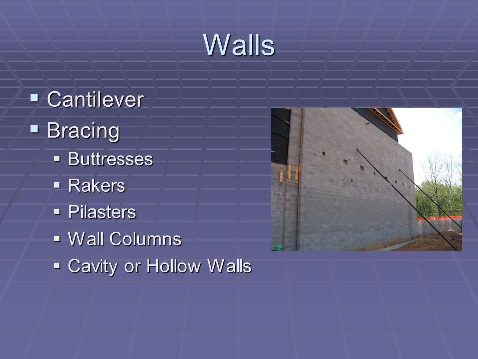 Walls Cantilever Cantilever Bracing Bracing Buttresses Buttresses Rakers Rakers Pilasters Pilasters Wall Columns Wall Columns Cavity or Hollow Walls C