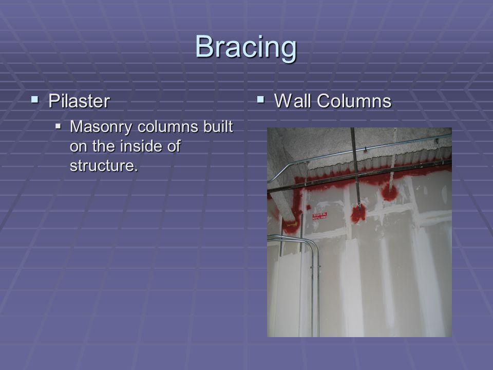 Bracing Pilaster Pilaster Masonry columns built on the inside of structure. Masonry columns built on the inside of structure. Wall Columns Wall Column