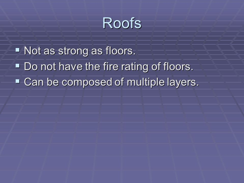 Roofs Not as strong as floors. Not as strong as floors. Do not have the fire rating of floors. Do not have the fire rating of floors. Can be composed