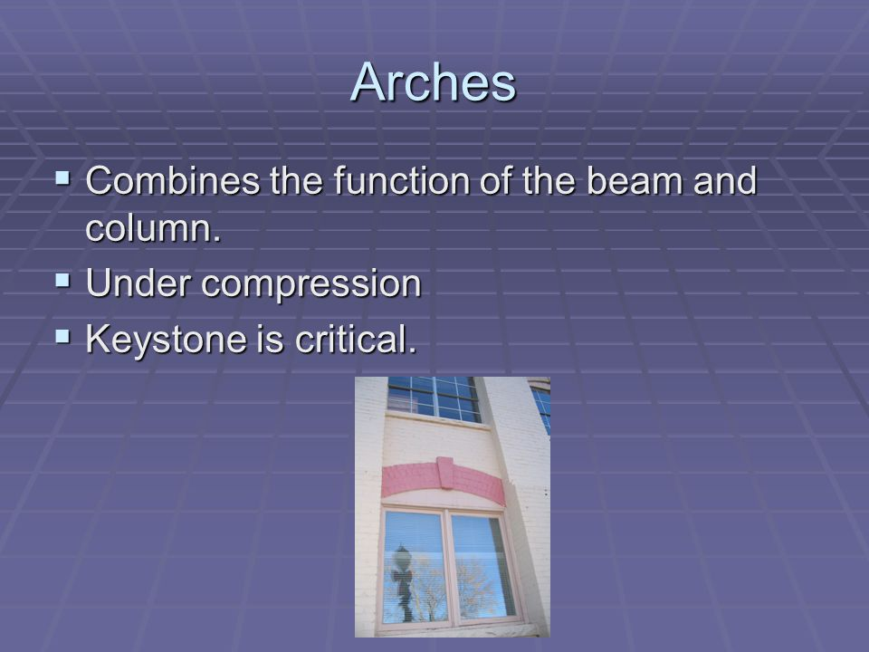 Arches Combines the function of the beam and column. Combines the function of the beam and column. Under compression Under compression Keystone is cri