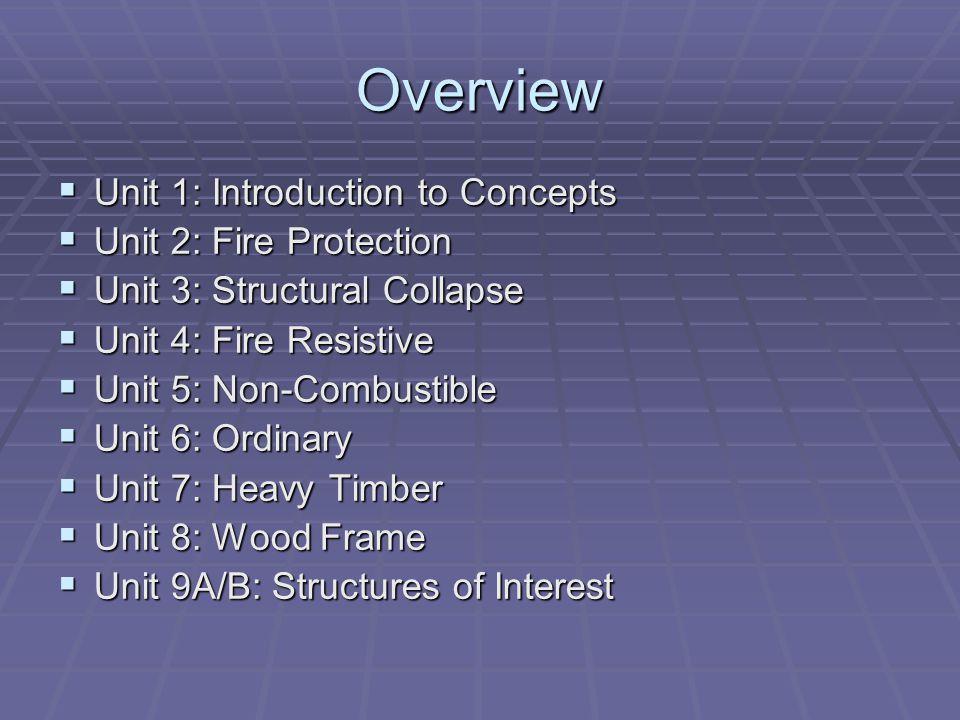 Overview Unit 1: Introduction to Concepts Unit 1: Introduction to Concepts Unit 2: Fire Protection Unit 2: Fire Protection Unit 3: Structural Collapse