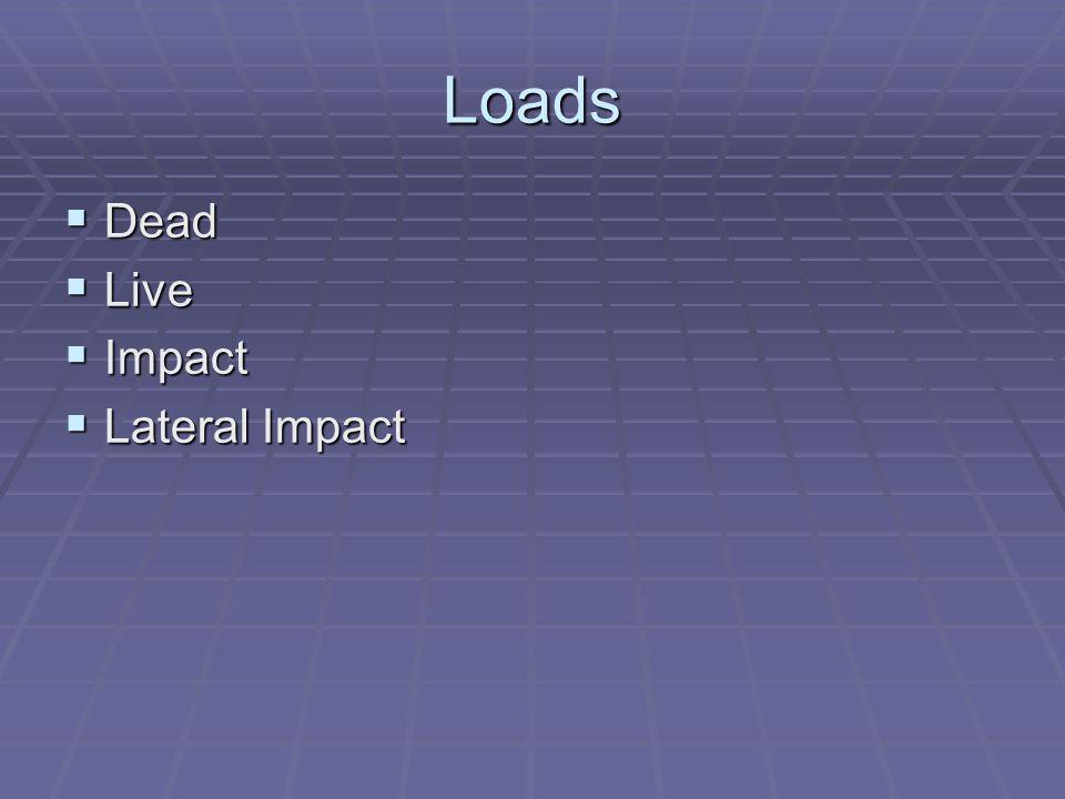 Loads Dead Dead Live Live Impact Impact Lateral Impact Lateral Impact