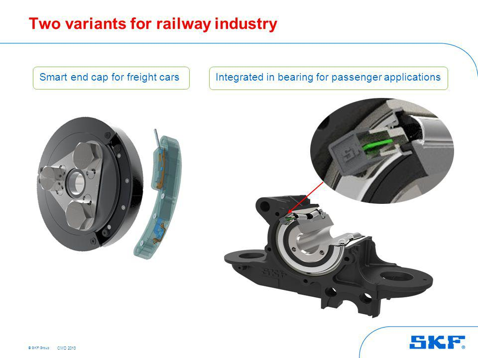 © SKF Group Two variants for railway industry Smart end cap for freight cars Integrated in bearing for passenger applications CMD 2013