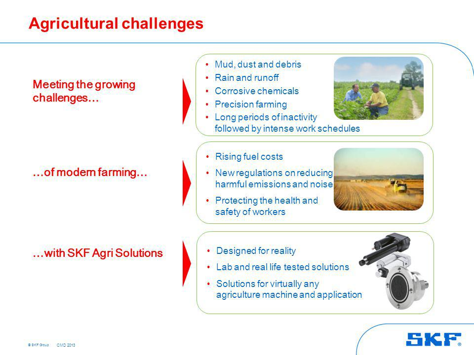 © SKF Group Meeting the growing challenges … … of modern farming … … with SKF Agri Solutions Mud, dust and debris Rain and runoff Corrosive chemicals
