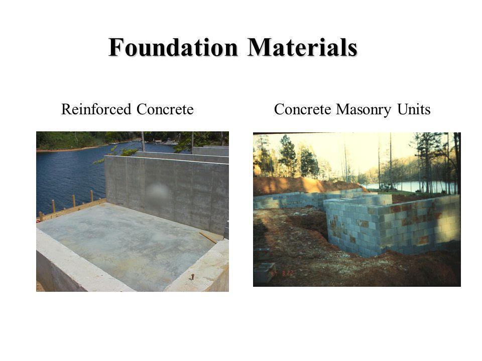 Foundation Materials Reinforced ConcreteConcrete Masonry Units