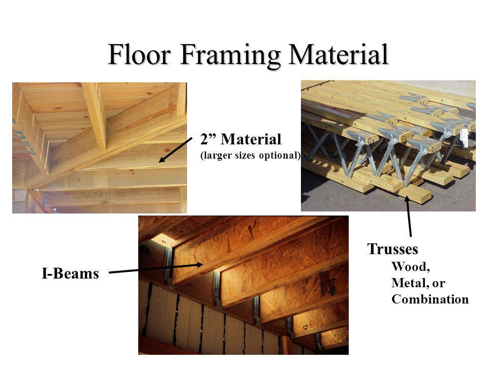 Floor Framing Material I-Beams 2 Material (larger sizes optional) Trusses Wood, Metal, or Combination