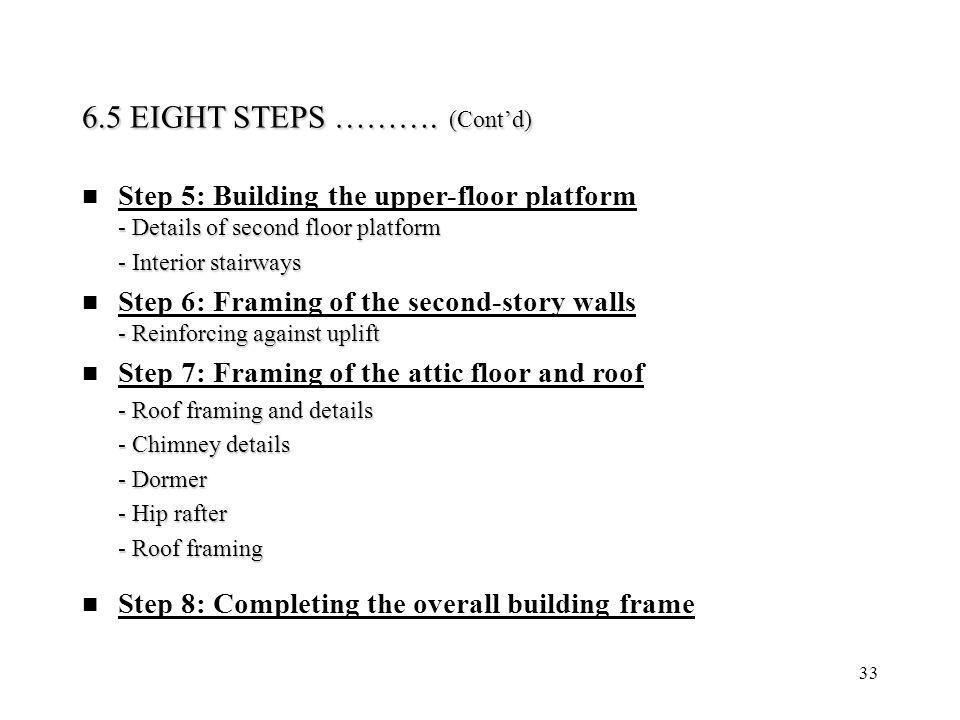 33 - Details of second floor platform Step 5: Building the upper-floor platform - Details of second floor platform - Interior stairways - Interior sta