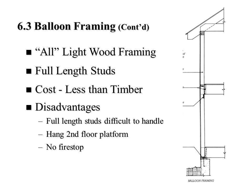 6.3 Balloon Framing (Contd) All Light Wood Framing All Light Wood Framing Full Length Studs Full Length Studs Cost - Less than Timber Cost - Less than