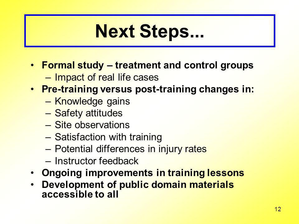 12 Next Steps... Formal study – treatment and control groups –Impact of real life cases Pre-training versus post-training changes in: –Knowledge gains