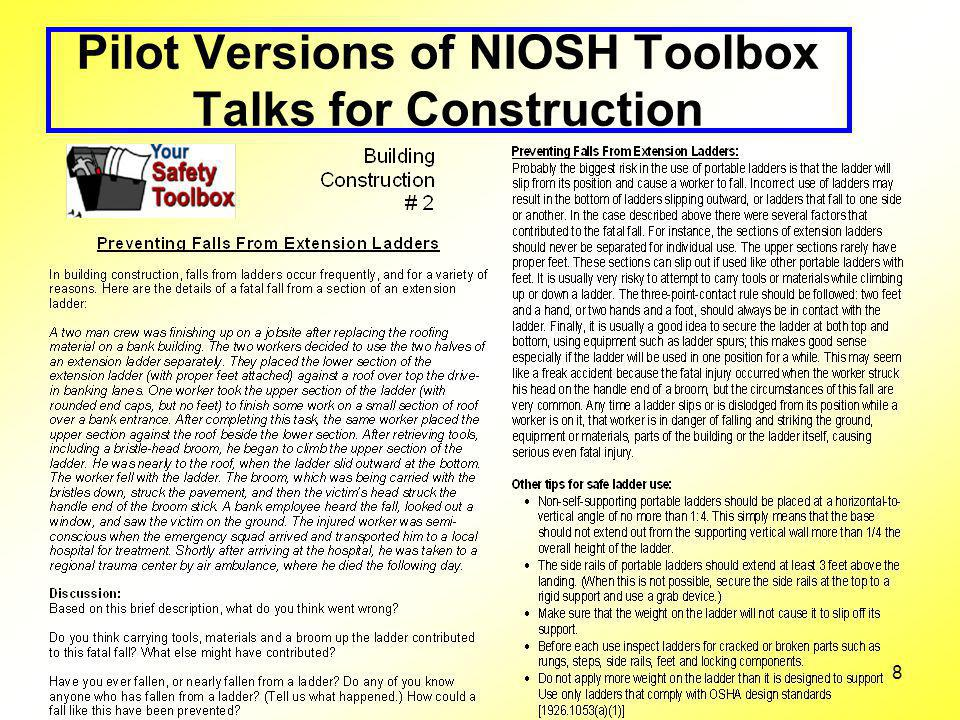 8 Pilot Versions of NIOSH Toolbox Talks for Construction