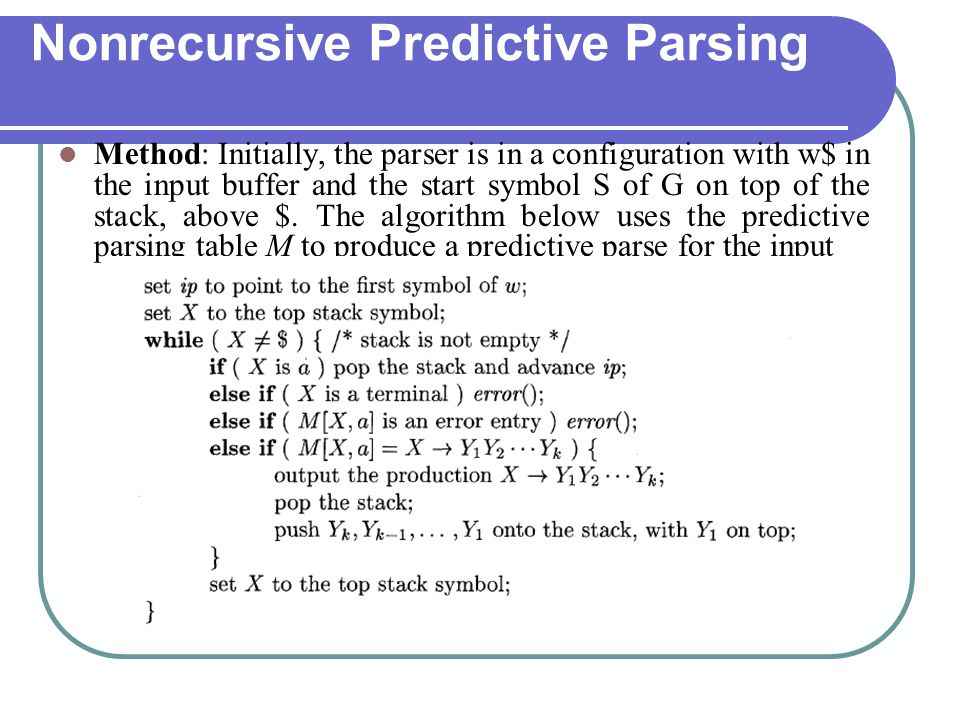 Nonrecursive Predictive Parsing Method: Initially, the parser is in a configuration with w$ in the input buffer and the start symbol S of G on top of