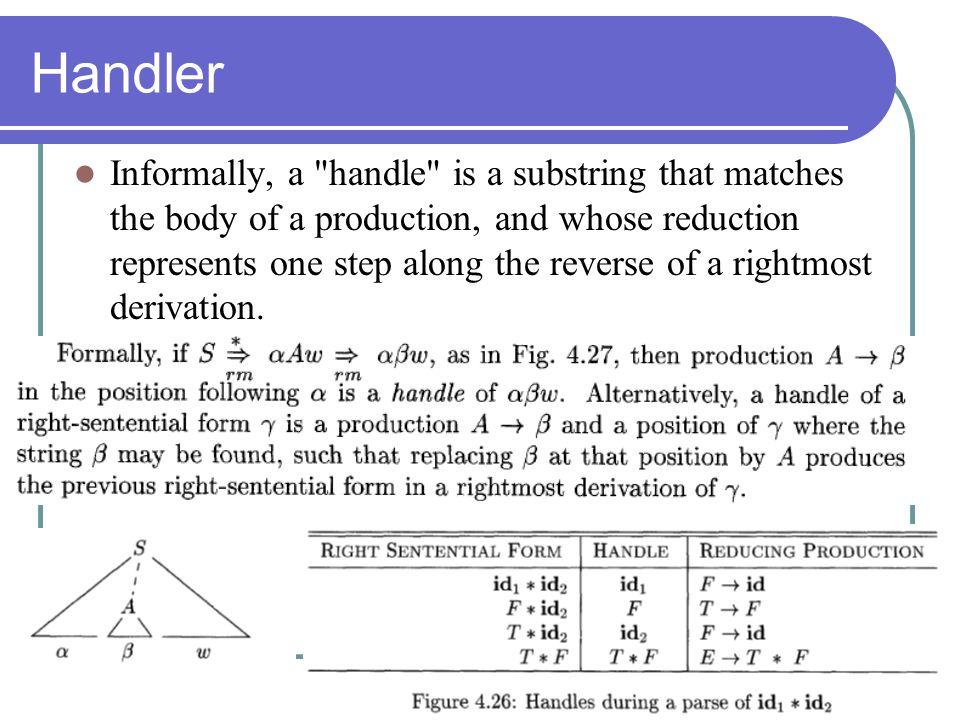 Handler Informally, a
