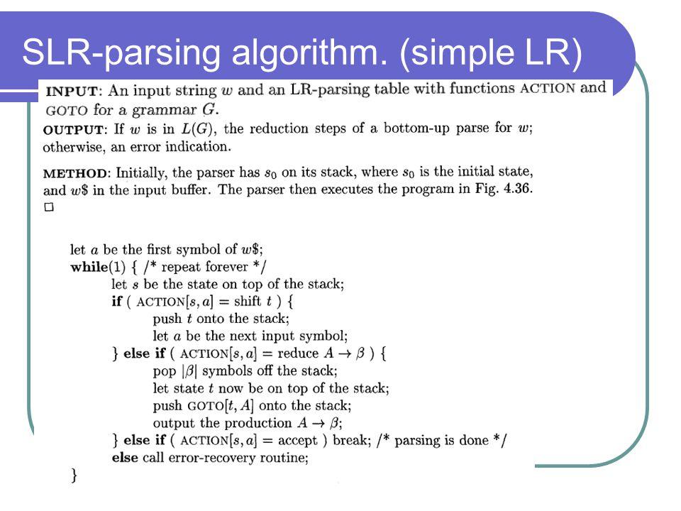 SLR-parsing algorithm. (simple LR)