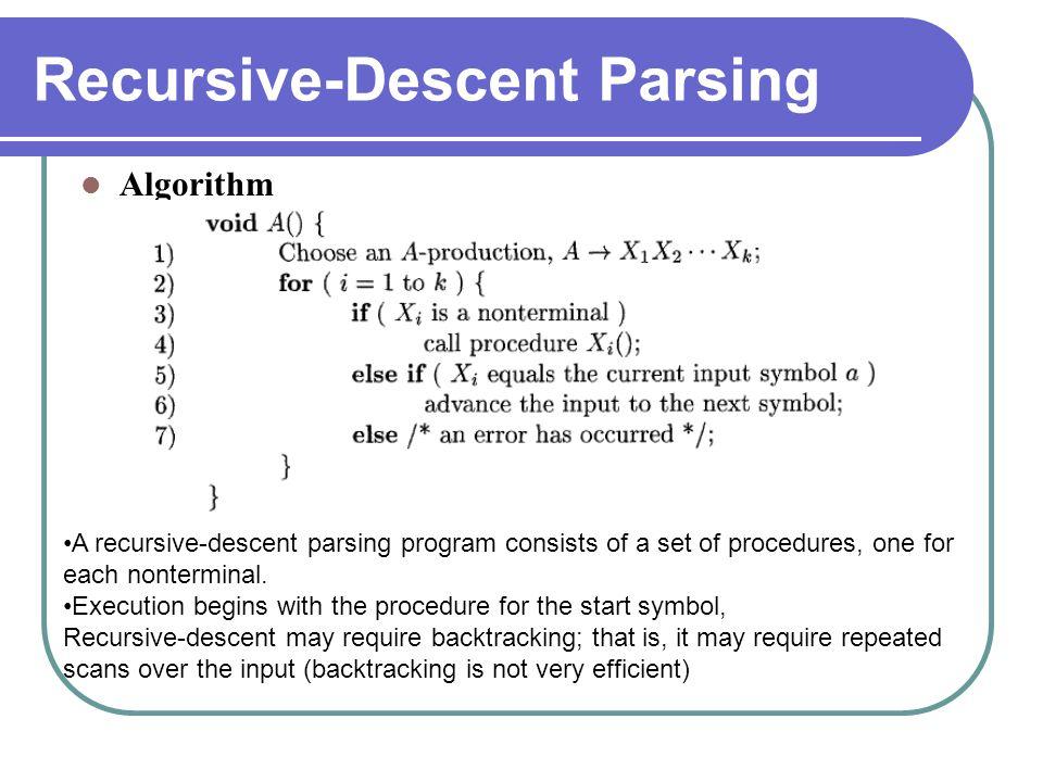 Recursive-Descent Parsing Algorithm A recursive-descent parsing program consists of a set of procedures, one for each nonterminal. Execution begins wi