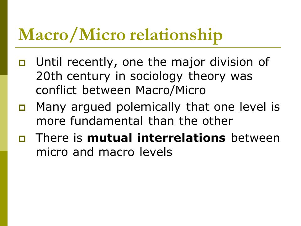 Macro/Micro relationship Until recently, one the major division of 20th century in sociology theory was conflict between Macro/Micro Many argued polem