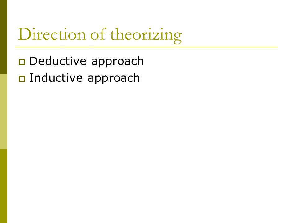 Direction of theorizing Deductive approach Inductive approach