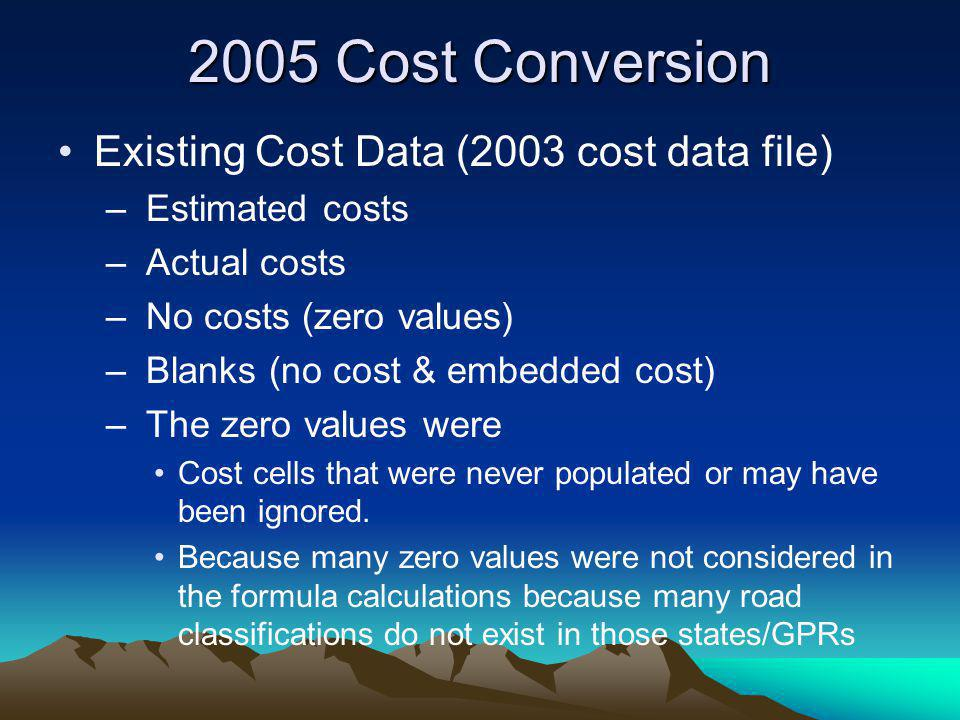 2005 Cost Conversion Existing Cost Data (2003 cost data file) – Estimated costs – Actual costs – No costs (zero values) – Blanks (no cost & embedded c