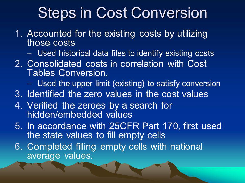 Steps in Cost Conversion 1.Accounted for the existing costs by utilizing those costs –Used historical data files to identify existing costs 2.Consolid