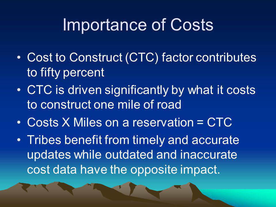 Importance of Costs Cost to Construct (CTC) factor contributes to fifty percent CTC is driven significantly by what it costs to construct one mile of
