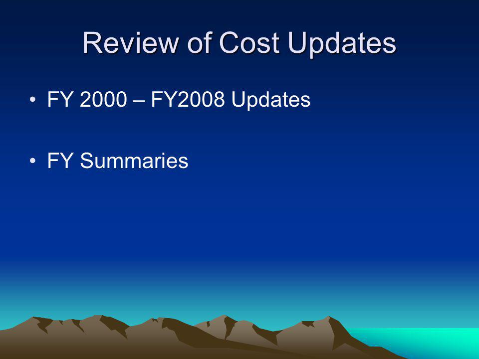 Review of Cost Updates FY 2000 – FY2008 Updates FY Summaries