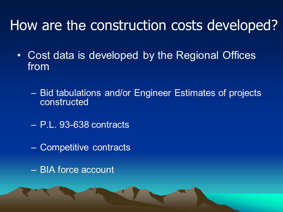 How are the construction costs developed? Cost data is developed by the Regional Offices from –Bid tabulations and/or Engineer Estimates of projects c