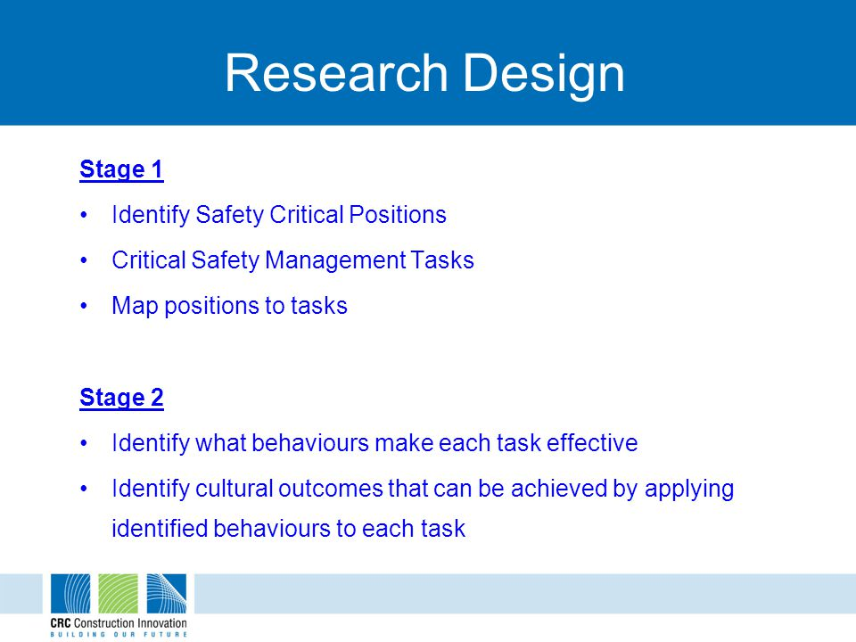 Research Design Stage 1 Identify Safety Critical Positions Critical Safety Management Tasks Map positions to tasks Stage 2 Identify what behaviours ma