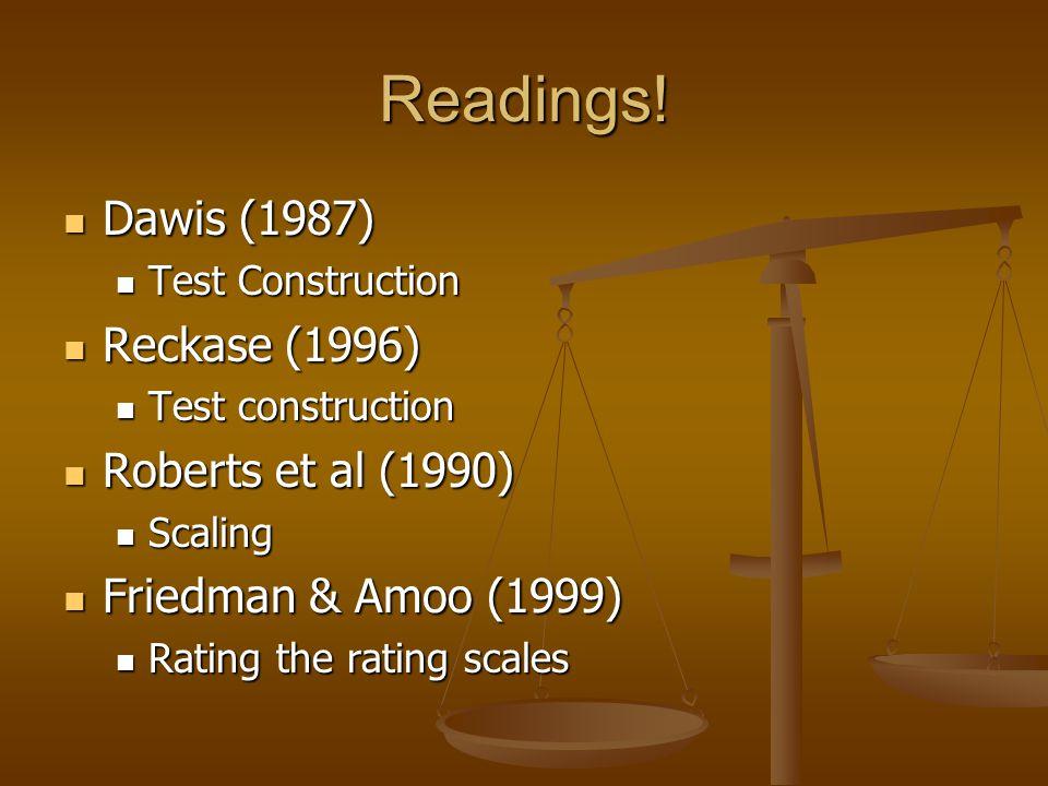 Readings! Dawis (1987) Dawis (1987) Test Construction Test Construction Reckase (1996) Reckase (1996) Test construction Test construction Roberts et a