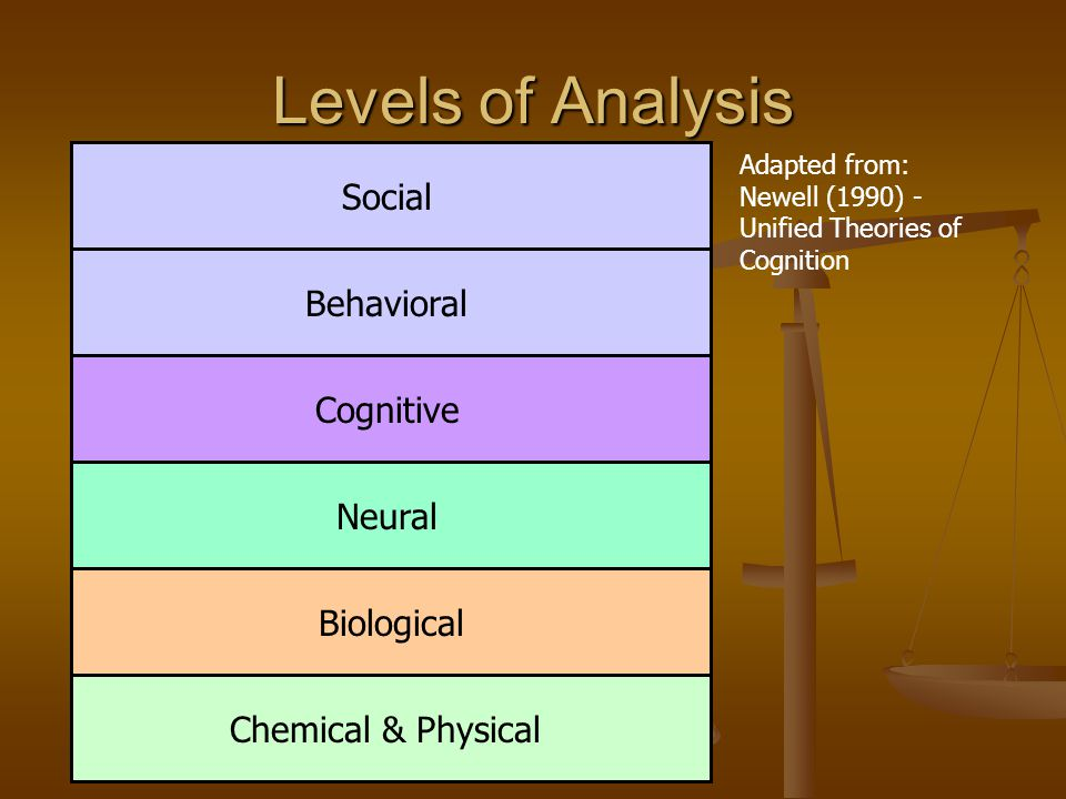Levels of Analysis Chemical & Physical Biological Neural Cognitive Behavioral Social Adapted from: Newell (1990) - Unified Theories of Cognition