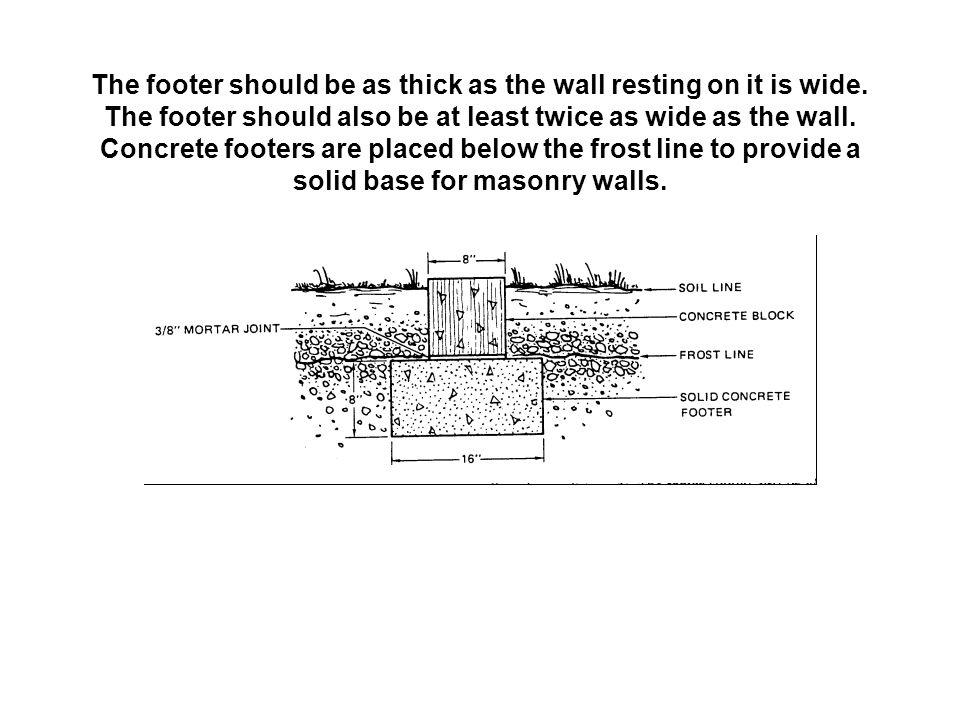The footer should be as thick as the wall resting on it is wide. The footer should also be at least twice as wide as the wall. Concrete footers are pl