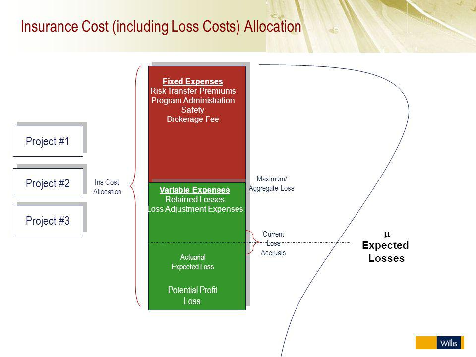Insurance Cost (including Loss Costs) Allocation Project #1 Ins Cost Allocation Fixed Expenses Risk Transfer Premiums Program Administration Safety Br