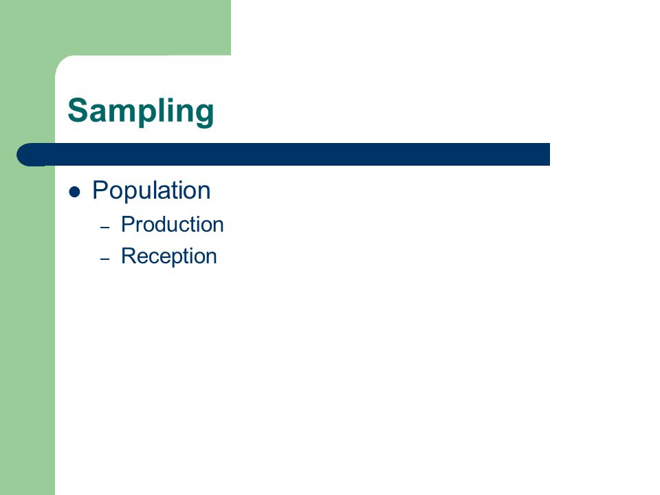 Sampling Population – Production – Reception
