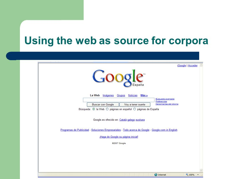 Using the web as source for corpora