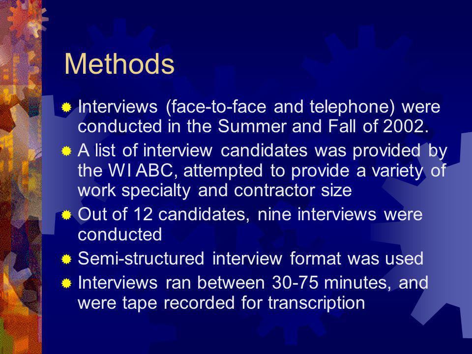 Methods Interviews (face-to-face and telephone) were conducted in the Summer and Fall of 2002. A list of interview candidates was provided by the WI A