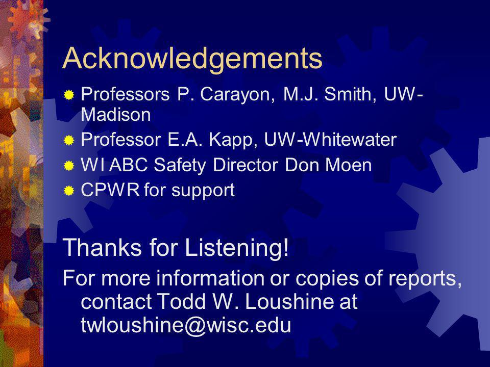 Acknowledgements Professors P. Carayon, M.J. Smith, UW- Madison Professor E.A. Kapp, UW-Whitewater WI ABC Safety Director Don Moen CPWR for support Th