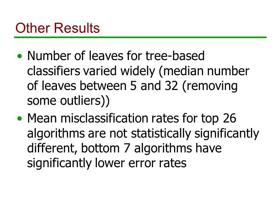 Other Results Number of leaves for tree-based classifiers varied widely (median number of leaves between 5 and 32 (removing some outliers)) Mean misclassification rates for top 26 algorithms are not statistically significantly different, bottom 7 algorithms have significantly lower error rates