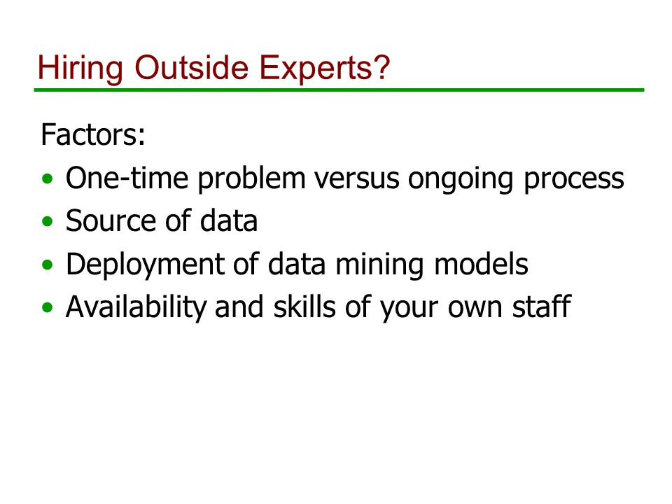 Hiring Outside Experts.