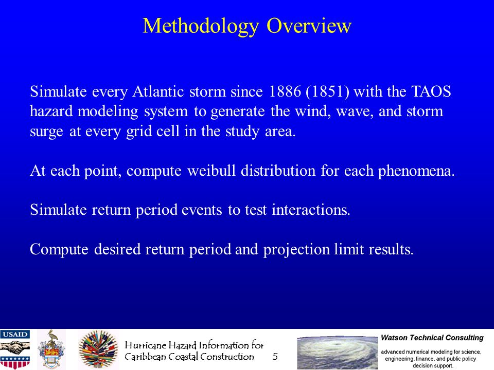 Hurricane Hazard Information for Caribbean Coastal Construction 6 The Arbiter Of Storms (TAOS) hazard model Modular, 4D composite model platform with user selectable modules: 12 Wind Models 3 Boundary Layer Models 3 Storm Surge Models 5 Wave Models 2 Rainfall/Runoff Models - 1,620 basic combinations - with damage functions, over 10,000 possible outcomes for a single event.